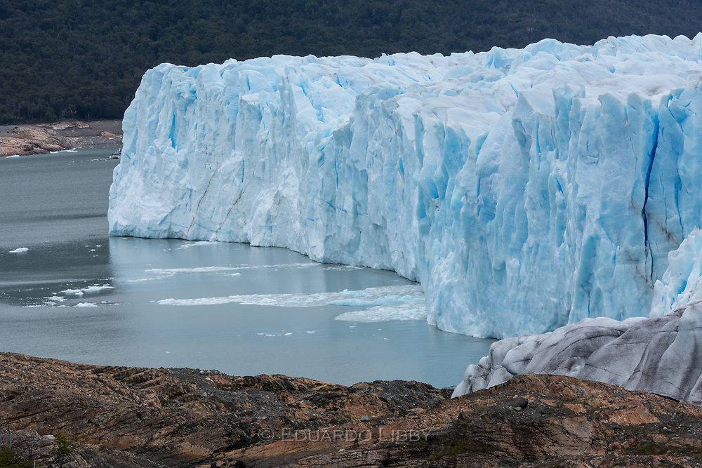 Detail of crevasses and southern tip of Lake Argentino and Perito Moreno Glacier.