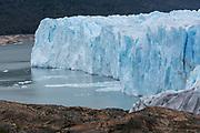 Detail of crevasses and southern tip of Lake Argentino and Perito Moreno Glacier.