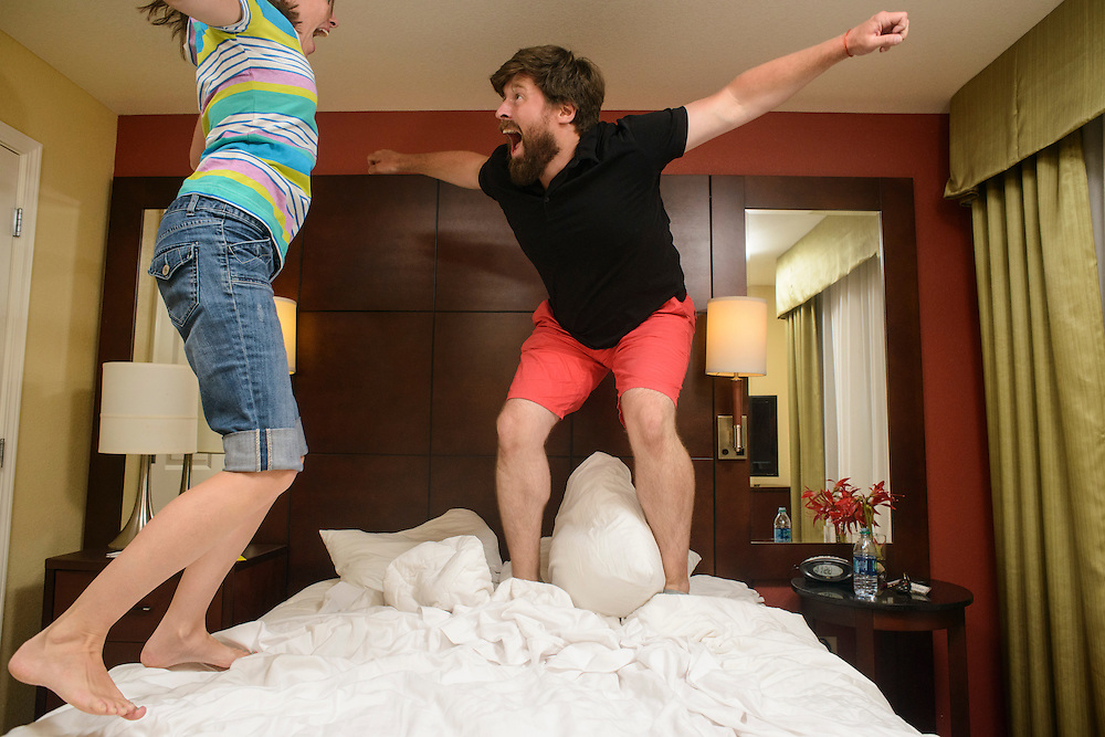 Photo by Matt Roth<br /> <br /> Jumping on the bed with Claire at the Residence Inn University Drive College Station, Texas on Sunday, August 04, 2013.