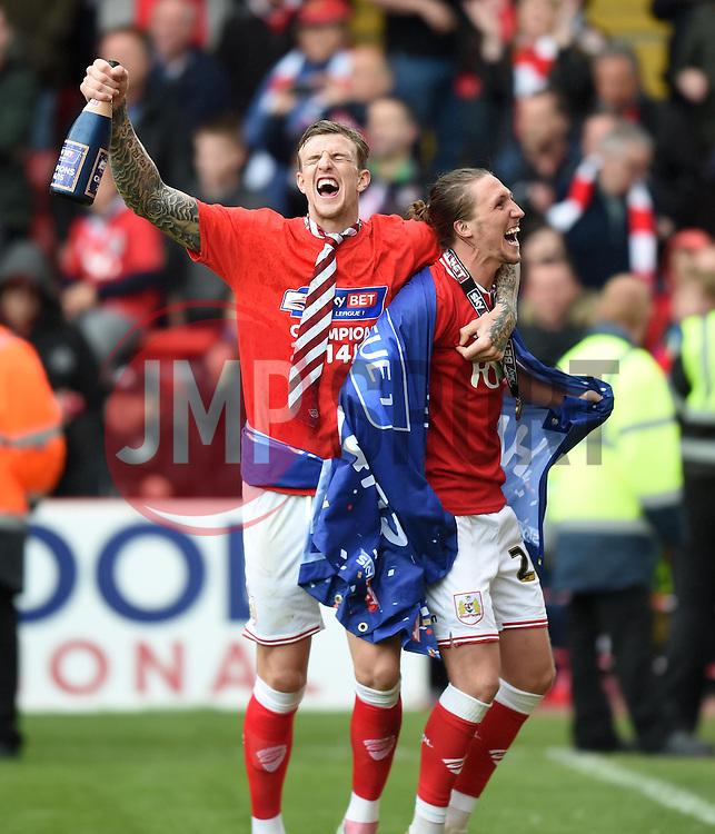 Bristol City's Aden Flint and Luke Ayling celebrate - Photo mandatory by-line: Paul Knight/JMP - Mobile: 07966 386802 - 03/05/2015 - SPORT - Football - Bristol - Ashton Gate Stadium - Bristol City v Walsall - Sky Bet League One