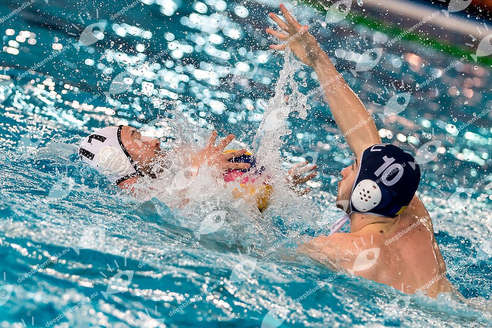 10 SZABO ROU, 11 RESTOVIC GER<br /> FINA Men's Water polo Olympic Games Qualifications Tournament 2016<br /> Final 7th place<br /> Germany GER (White) Vs Roumania ROU (Blue)<br /> Trieste, Italy - Swimming Pool Bruno Bianchi<br /> Day 08  10-04-2016<br /> Photo  L.Binda/Insidefoto/Deepbluemedia
