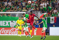 June 28, 2017: Mexico defender Jair Pereira (3) and Ghana forward Asamoah Gyan (3) battle for a header during the 2nd half of an international soccer friendly match between Mexico and Ghana at NRG Stadium in Houston, TX. Mexico won the game 1-0...Trask Smith/CSM(Credit Image: © Trask Smith/CSM via ZUMA Wire)