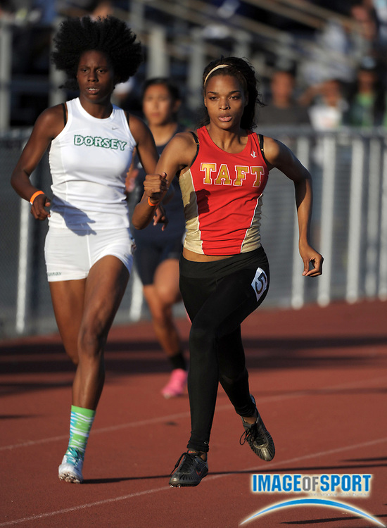 May 23, 2012; Lake Balboa, CA, USA; Tatiana McCoy of Taft wins the girls 400m in 56.37 in the 2012 CIF Los Angeles Section championships at Birmingham High.