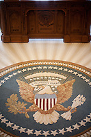 A detail from the Oval Office replica inside the George W. Bush Library and Museum on the Southern Methodist Campus in Dallas, Texas.