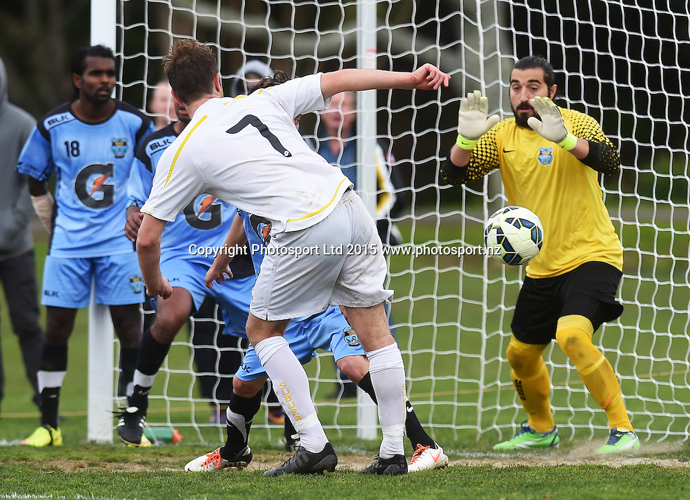 Eastern Suburbs' Michael Bryant scores  a goal. Chatham Cup Semi Final Football. Eastern Suburbs AFC v Mangere Utd. Saturday 29 August 2015. Copyright photo: Andrew Cornaga/www.photosport.nz
