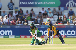 June 28, 2019 - Chester Le Street, County Durham, United Kingdom - South Africa's Hashim Amla is hit on the pads and given out LBW but a review over turned the decision during the ICC Cricket World Cup 2019 match between Sri Lanka and South Africa at Emirates Riverside, Chester le Street on Friday 28th June 2019. (Credit Image: © Mi News/NurPhoto via ZUMA Press)