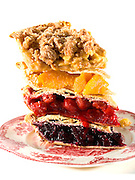 top to bottom, apple crumb, peach, cherry, blueberry