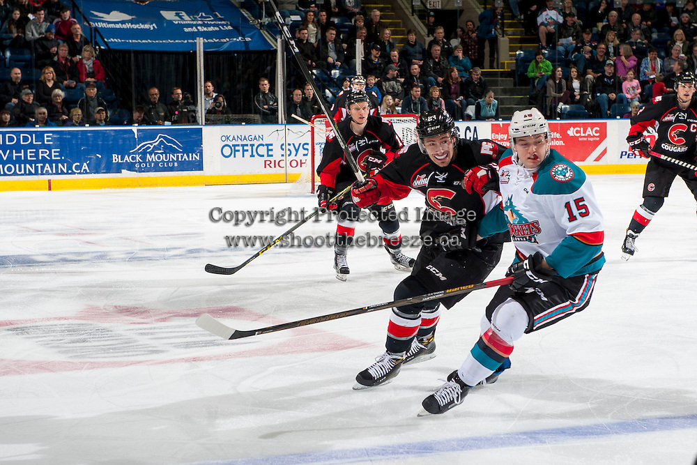 KELOWNA, CANADA - FEBRUARY 18: Radovan Bondra #24 of the Prince George Cougars back checks Tomas Soustal #15 of the Kelowna Rockets on February 18, 2017 at Prospera Place in Kelowna, British Columbia, Canada.  (Photo by Marissa Baecker/Shoot the Breeze)  *** Local Caption ***