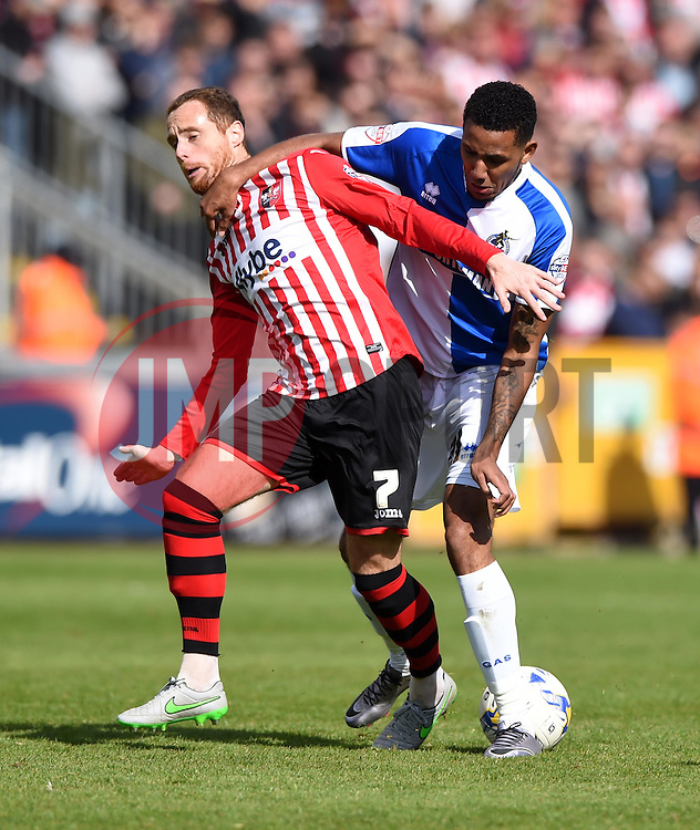Cristian Montano of Bristol Rovers Bristol Rovers Ryan Harley of Exeter City - Mandatory by-line: Joe Meredith/JMP - 23/04/2016 - FOOTBALL - Memorial Stadium - Bristol, England - Bristol Rovers v Exeter City - Sky Bet League Two