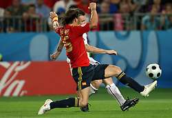 Sergio Ramos of Spain (15) vs Antonio Cassano of Italy (18) during the UEFA EURO 2008 Quarter-Final soccer match between Spain and Italy at Ernst-Happel Stadium, on June 22,2008, in Wien, Austria. Spain won after penalty shots 4:2. (Photo by Vid Ponikvar / Sportal Images)