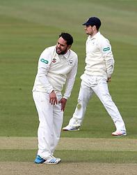 Kieran Noema-Barnett of Gloucestershire cuts a frustrated figure after not taking a wicket - Mandatory by-line: Robbie Stephenson/JMP - 01/04/2016 - CRICKET - Bristol County Ground - Bristol, United Kingdom - Gloucestershire v Durham MCC University - MCC University Match