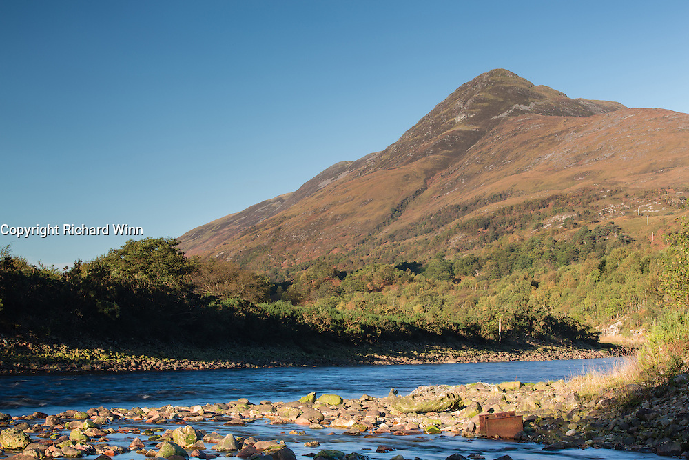 Looking towards the foothils of the Mamores Range, from the bank of the River Leven, just outside of Kinlochleven, in the Scottish Highlands.