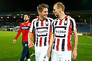 19-09-2015 VOETBAL:WILLEM II- FC UTRECHT:TILBURG<br /> <br /> Jordens Peters van Willem II en Frank van der Struijk van Willem II vieren de overwinning met Nicky Kuiper van Willem II (L)<br /> <br /> Foto: Geert van Erven