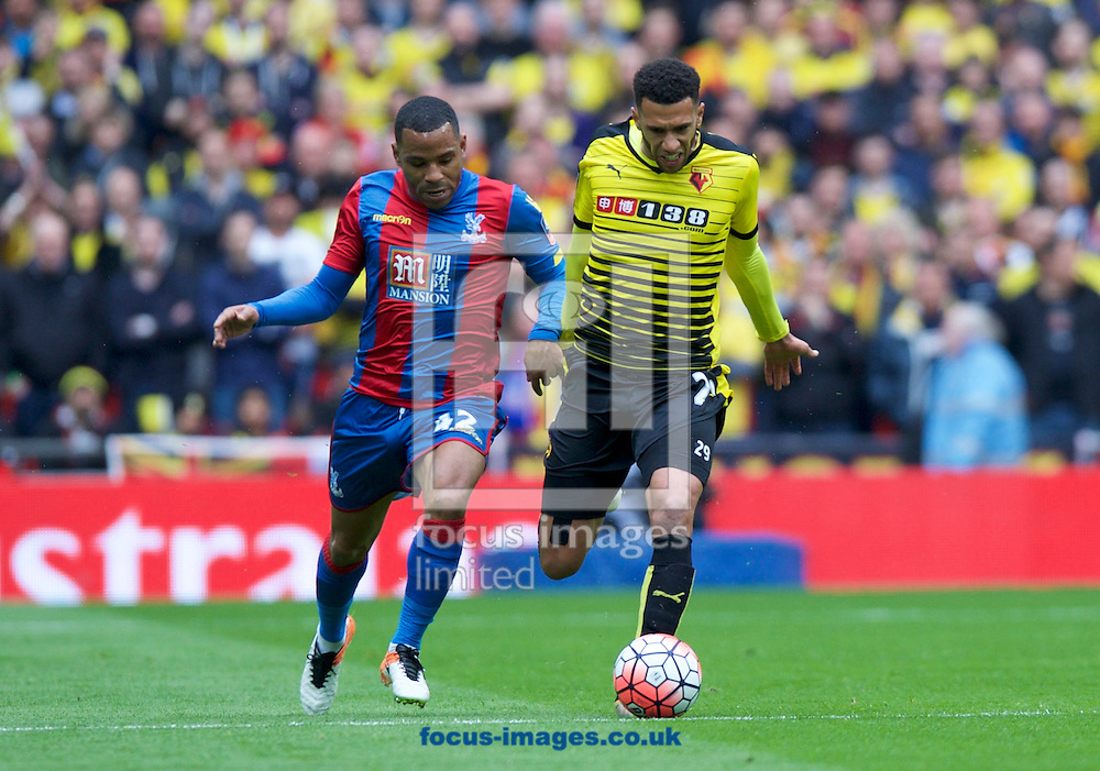 Etienne Capoue of Watford and Jason Puncheon of Crystal Palace during the FA Cup semi-final at Wembley Stadium, London<br /> Picture by Alan Stanford/Focus Images Ltd +44 7915 056117<br /> 24/04/2016