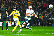 Pablo Hernandez of Leeds United (19) shoots during the EFL Sky Bet Championship match between Preston North End and Leeds United at Deepdale, Preston, England on 9 April 2019.