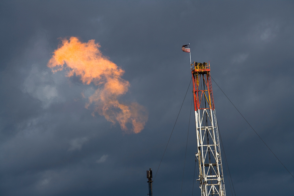 A flare is released from a natural gas well in the Jonas Gas Fields, south of Pinedale, Wyom., USA, May 21, 2008.