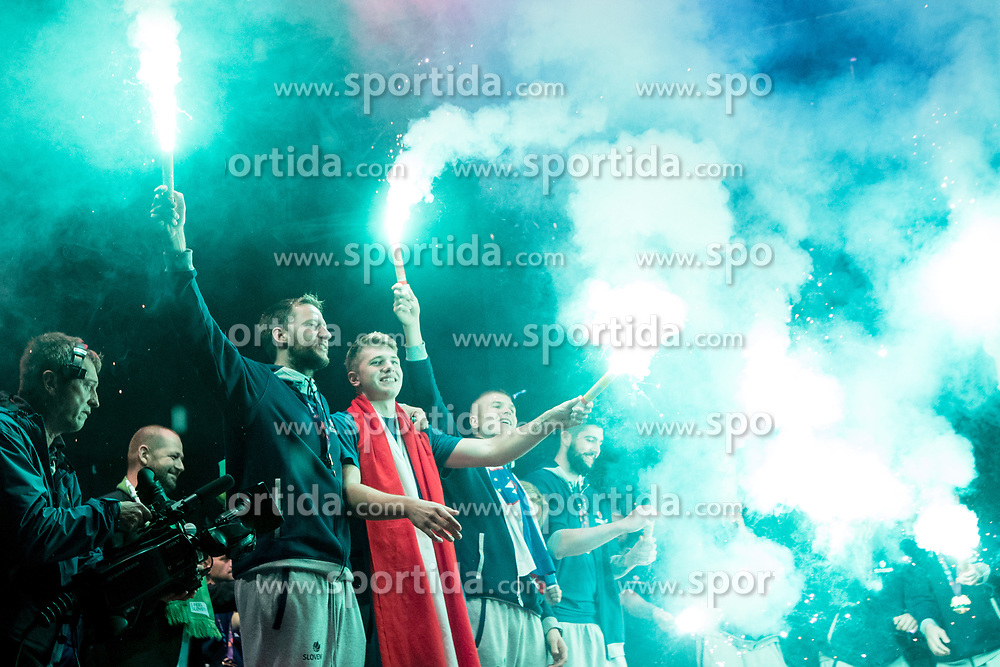 Saso Zagorac and Luka Doncic during Reception of Slovenian national baskteball team with Gold medal from Eurobasket 2017 - Istanbul and Slovenian women's U23 volleyball team with Silver medal from Women's U23 World Championships - Ljubljana, on September 18, 2017 in Kongresni trg, Ljubljana, Slovenia. Photo by Matic Klansek Velej / Sportida