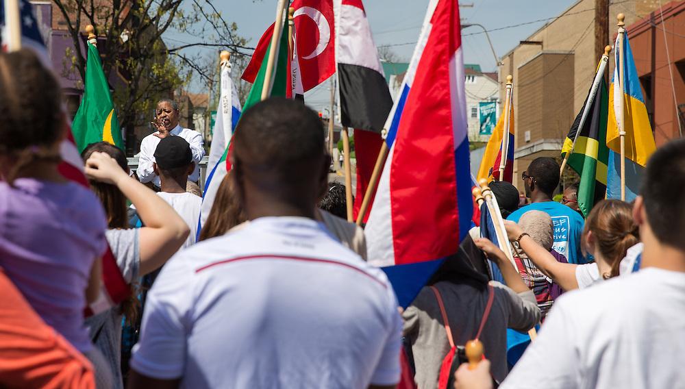 President McDavis speaks at the International Street Fair. 2015.