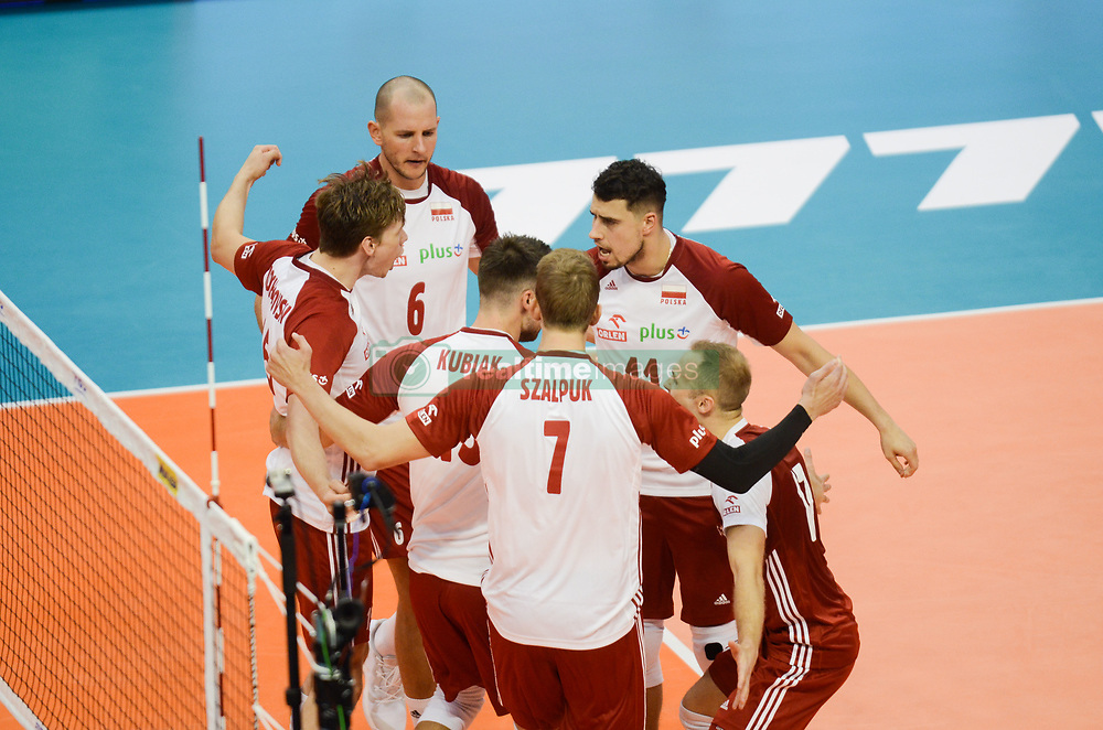 September 12, 2018 - Varna, Bulgaria - The Natonal volleyball team of Polan celebrates after win a point against Cuba during Cuba v Poland, pool D, during 2018 FIVB Volleyball Men's World Championship Italy-Bulgaria 2018, Varna, Bulgaria on September 12, 2018  (Credit Image: © Hristo Rusev/NurPhoto/ZUMA Press)