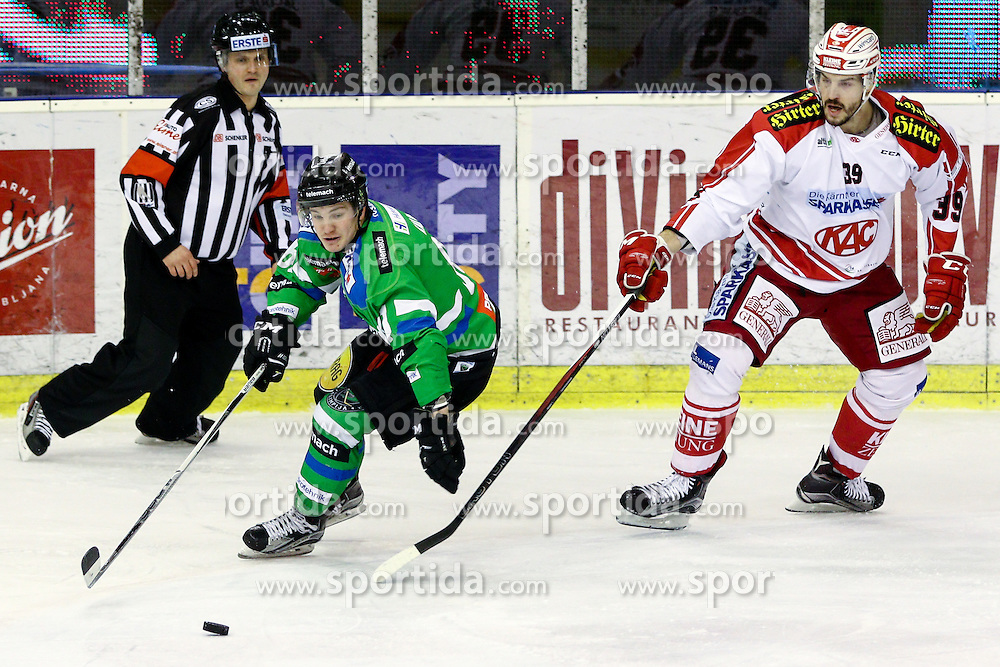 Luka Kalan of Olimpija and Jean-Francois Jacques of KAC during ice-hockey match between HDD Telemach Olimpija and EC KAC in EBEL league, on January 31, 2016, in Hala Tivoli, Ljubljana. Photo by Morgan Kristan / Sportida.