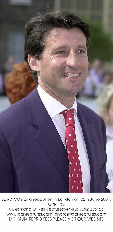 LORD COE at a reception in London on 25th June 2001.OPR 133