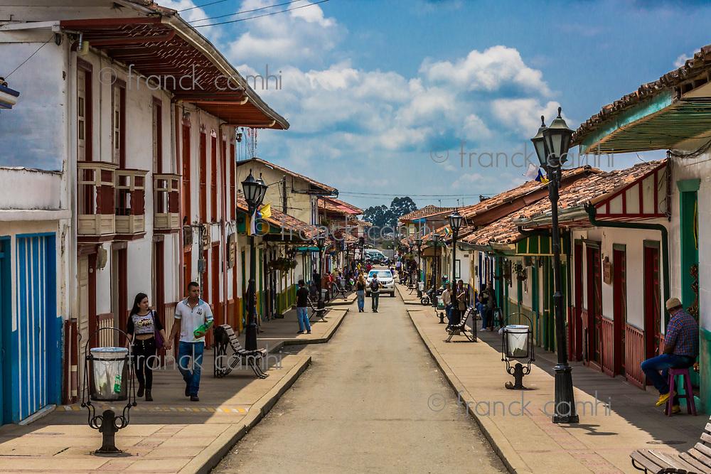 Salento , Colombia  - February 22, 2017 :  Salento streets Quindio in Colombia South America