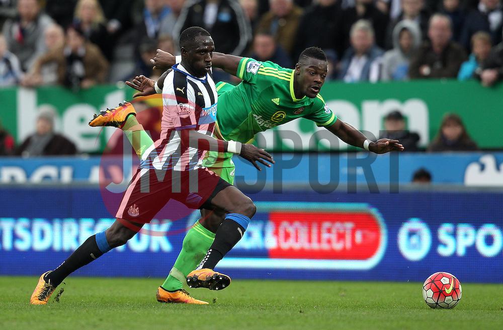 Moussa Sissoko of Newcastle United gets past Yann M'Vila of Sunderland - Mandatory byline: Robbie Stephenson/JMP - 20/03/2016 - FOOTBALL - ST James Park - Newcastle, England - Newcastle United v Sunderland - Barclays Premier League