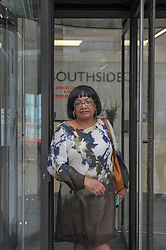 Diane Abbott, Shadow Home Secretary and Member of Parliament for Hackney North and Stoke Newington Leaves a meeting at Labour Headquarters.<br /> <br /> Outside, Diane Abbott was questioned on the where the Labour Party stand regarding Brexit. <br /> <br /> <br /> 	<br /> Richard Hancox | EEm 09072019