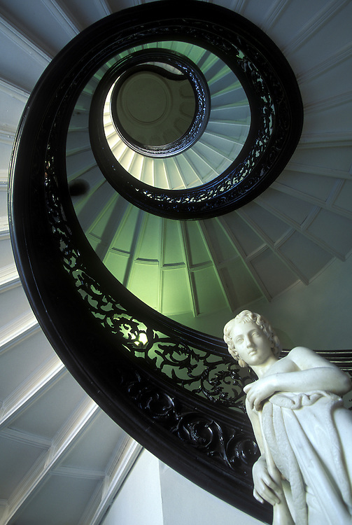 USA, Maryland, Spiral staircase at Friedberg Concert Hall at Baltimore's Peabody Institute