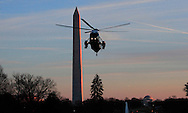 Marine One with President Barack Obama onboard lands on the South Lawn of the White House on February 26, 2016   Photo by Dennis Brack