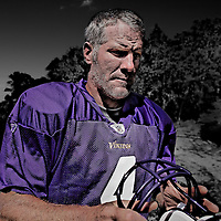 EDEN PRAIRIE, MN - August 18: Future Hall of Famer Brett Favre reports to Winter Park in Eden Prairie, Minnesota on August 18, 2009 . (Photo by Minnesota Vikings/Adam Bettcher)