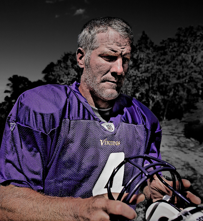 EDEN PRAIRIE, MN - August 18: Future Hall of Famer Brett Favre reports to Winter Park in Eden Prairie, Minnesota on August 18, 2009 . (Photo by Minnesota Vikings/Adam Bettcher)