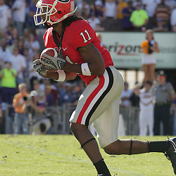 25 October 2008:  Georgia kick returner Ramarcus Brown (11) brings back a kickoff during the Georgia Bulldogs 52-38 victory over the LSU Tigers at Tiger Stadium in Baton Rouge, LA.