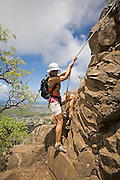 Hiking Mt. Olomana, Kailua Waimanalo, Windward oahu, Hawaii<br />