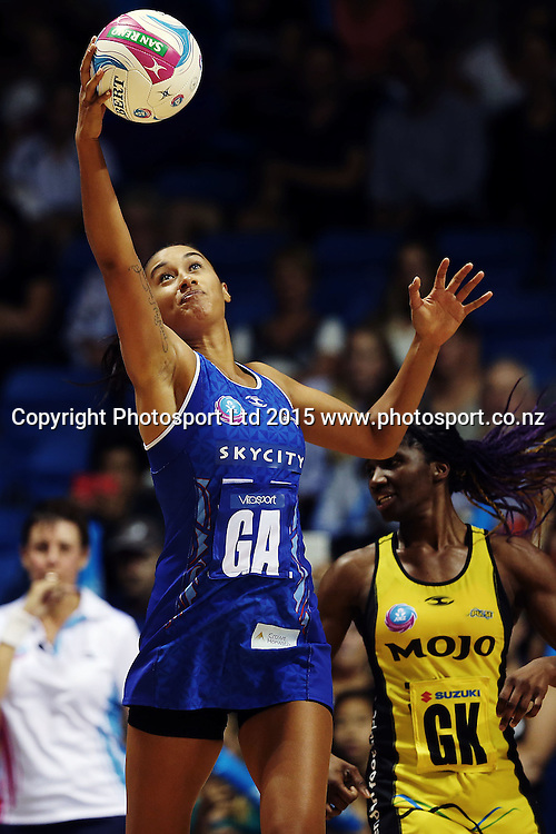 Maria Tutaia of the Mystics in action. 2015 ANZ Championship, Northern Mystics v Central Pulse, The Trusts Arena, Auckland, New Zealand. Photo: Anthony Au-Yeung / www.photosport.co.nz
