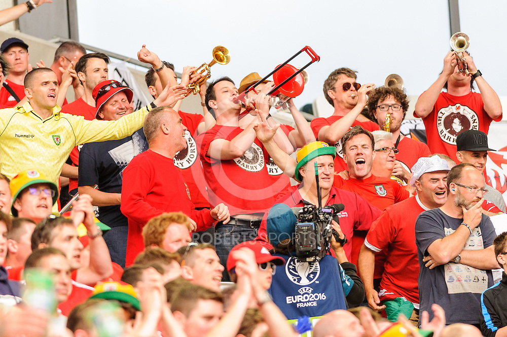 The Barry Horns playing at the WALES v SLOVAKIA UEFA EURO 2016 game at Stade Matmut Atlantique in Bordeaux, 11 June 2016. (c) Paul J Roberts / RobertsSports Photo