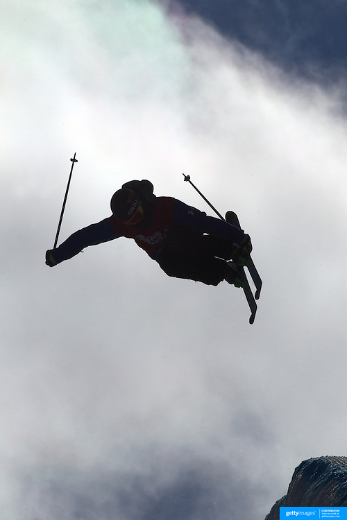 Competitors practice before competition in the Halfpipe Finals during The North Face Freeski Open at Snow Park, Wanaka, New Zealand, 3rd September 2011. Photo Tim Clayton....