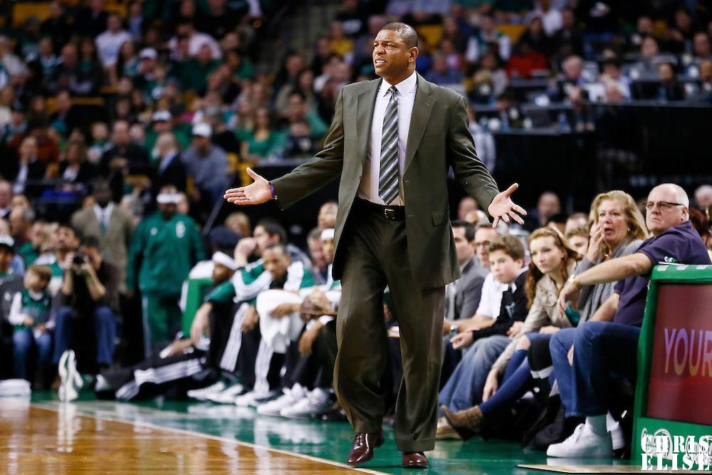 17 November 2012: Boston Celtics head coach Doc Rivers reacts during the Boston Celtics 107-89 victory over the Toronto Raptors at the TD Garden, Boston, Massachusetts, USA.