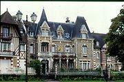 France, Normandy.  Coubourg. Ornate 19th C. Houses.