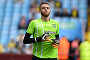 Norwich City goalkeeper (on loan from Manchester City) Angus Gunn (1) warms up during the EFL Sky Bet Championship match between Aston Villa and Norwich City at Villa Park, Birmingham, England on 19 August 2017. Photo by Dennis Goodwin.