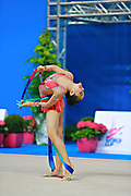 Zeng Laura during qualifying at ribbon in Pesaro World Cup 11 April 2015. Laura was born in Hartford, Connecticut in October 14, 1999. She is an American individual rhythmic gymnast.