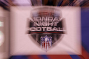 A Monday night football banner hangs from a wall in this zoom time exposure photograph taken during the New York Giants 2017 NFL week 2 regular season football game against the against the Detroit Lions, Monday, Sept. 18, 2017 in East Rutherford, N.J. The Lions won the game 24-10. (©Paul Anthony Spinelli)
