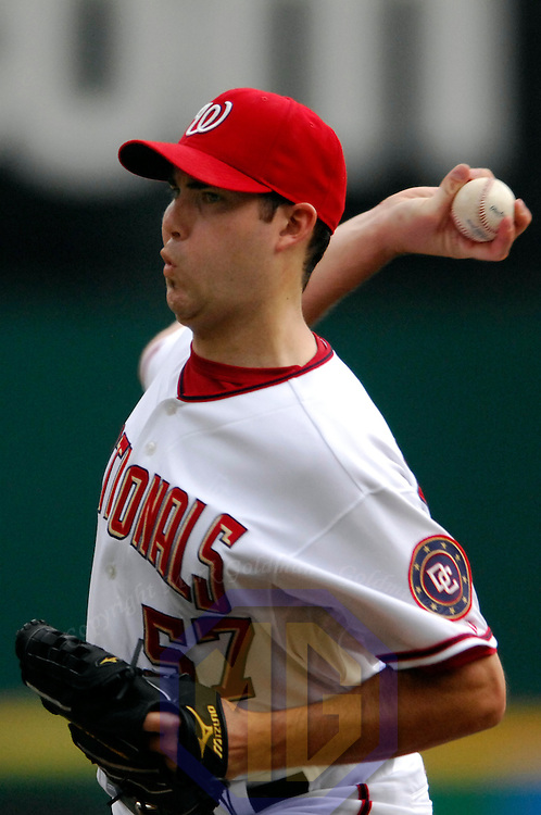 18 July 2007:  Washington Nationals pitcher Jason Bergmann (57) pitches in the first inning against the Houston Astros.  Bergmann went 6 inning to pick up his second win of the year as the Nationals defeated the Astros 7-6 at RFK Stadium in Washington, D.C.  ****For Editorial Use Only****