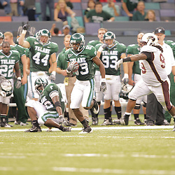 20 September 2008: Tulane wide receiver Brian King (83) converts on a fake fake punt during a Conference USA match up between the University of Louisiana Monroe and Tulane at the Louisiana Superdome in New Orleans, LA.