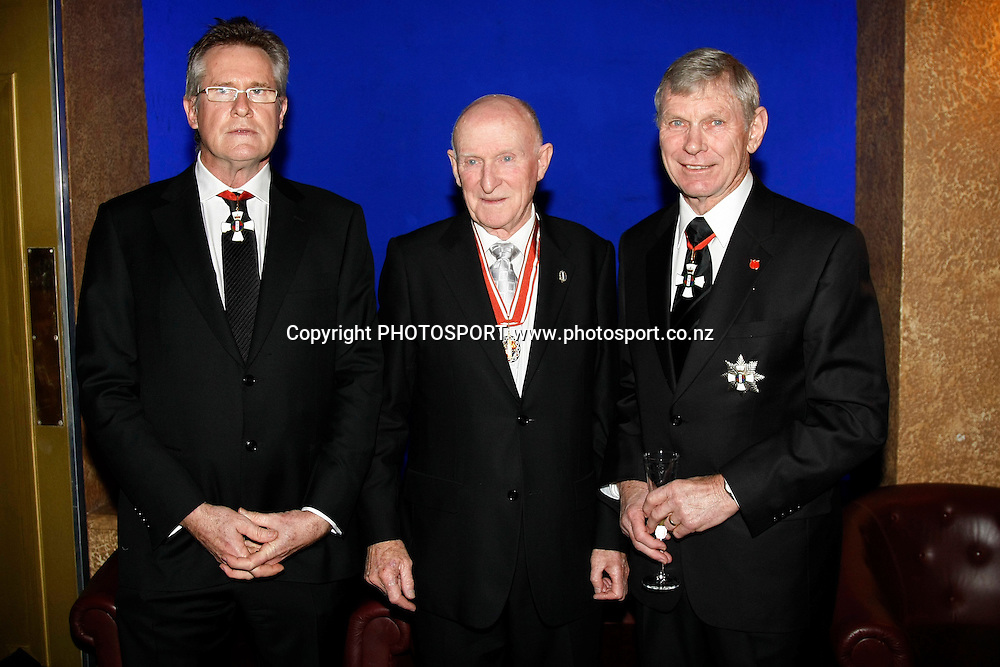 L_R Sir John Walker, Sir Murray Halberg and Sir Peter Snell pose for a picture at the 3 Knights Gala Dinner at the Civic Theatre, Auckland, New Zealand, Thursday, August 20, 2009.