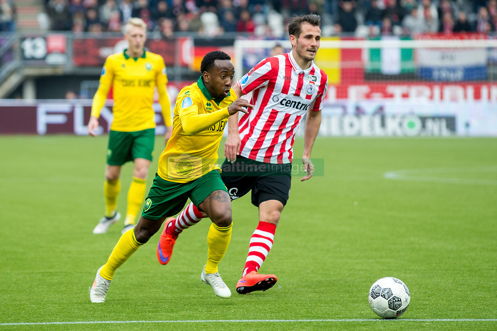 Elson Hooi of ADO Den Haag, Paco van Moorsel of Sparta Rotterdam during the Dutch Eredivisie match between Sparta Rotterdam and ADO Den Haag at the Sparta stadium Het Kasteel on March 04, 2018 in Rotterdam, The Netherlands