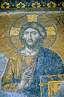 "Mosaic ""Judgment Day"", Jesus Christ between the Virgin Mary and John the Baptist (12th century), Interior, Hagia Sophia museum (Aya Sofya), Istanbul, Turkey"