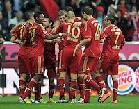 FUSSBALL   1. BUNDESLIGA  SAISON 2011/2012   27. Spieltag FC Bayern Muenchen - Hannover 96       24.03.2012 Jubel nach dem Tor zum 1:0, David Alaba, Toni Kroos, Arjen Robben, Holger Badstuber, Franck Ribery (v. li., FC Bayern Muenchen)