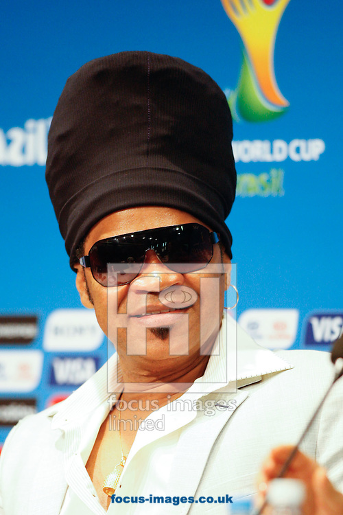 Brazilian singer Carlinhos Brown looks on during the FIFA Daily Press Conference at Maracana Stadium, Rio de Janeiro.<br /> Picture by Andrew Tobin/Focus Images Ltd +44 7710 761829<br /> 12/07/2014