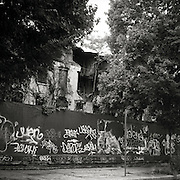 A tree grows out from the vestige of a broken home from the old Admirals Row in the Brooklyn Navy Yard. The Barricades in front of the property are covered in graffiti.
